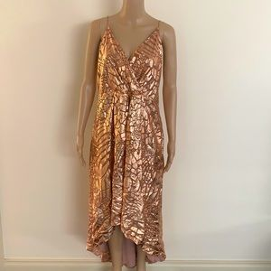 THURLEY | Foil animal print high low dress